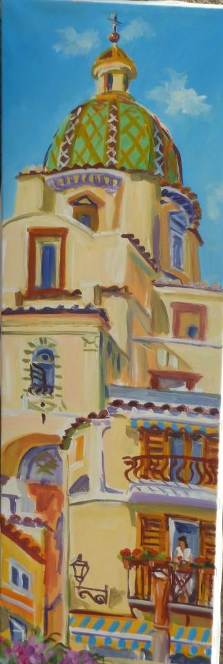 Painting of Positano Beach in Positano, Italy