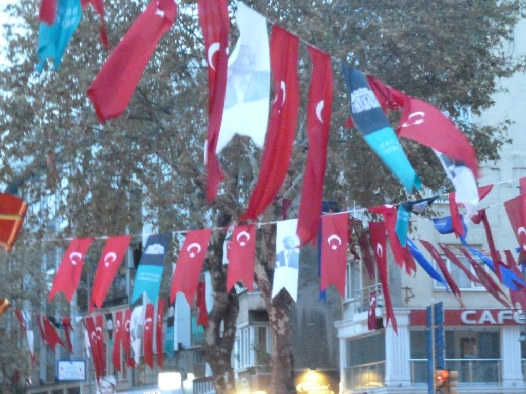 The flags of Istanbul, Turkey