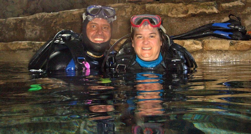 Cacinda and Patrick Maloney in a Riviera Maya Cenote