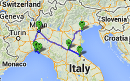 Map of Italy Destinations