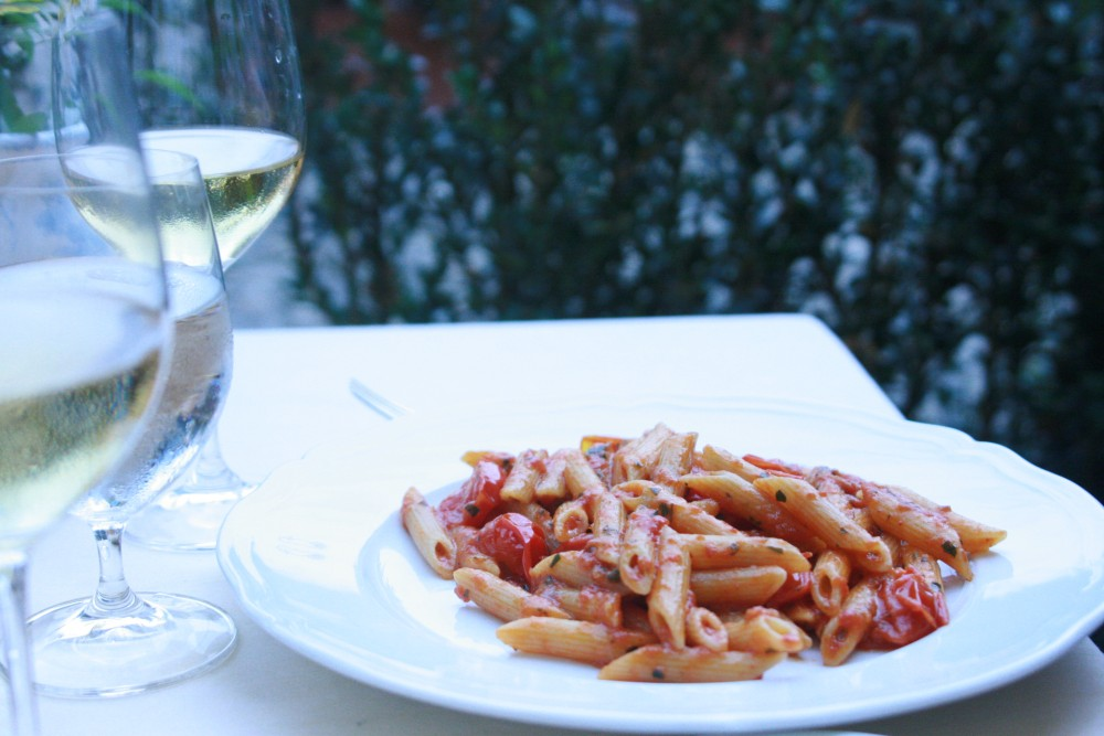 plate of rigatoni noodles in red sauce