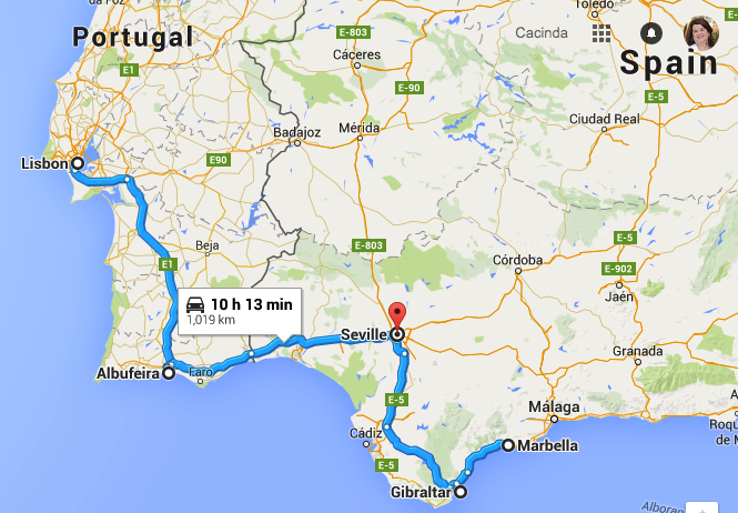 Map Lisbon to Seville to Rock of Gibraltar