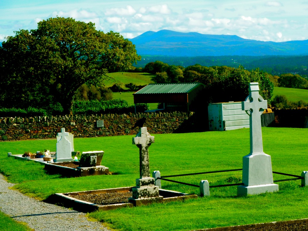 Aghadoe Church and Round Tower cemetery in Killarney, Ireland