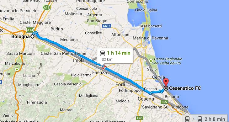 Map - Bologna to Cesenatico, Italy