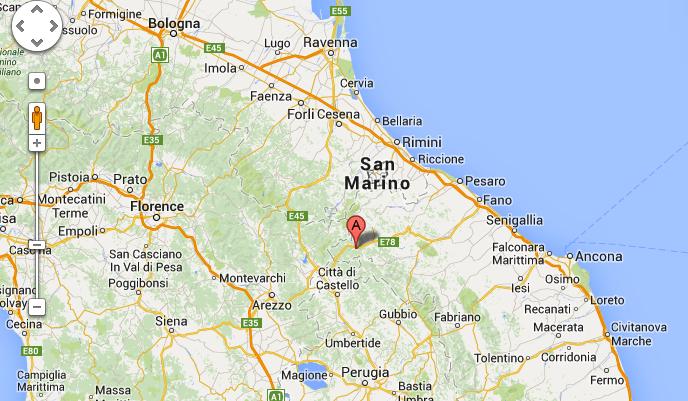 Map - Mercatello sul Metauro, Italy