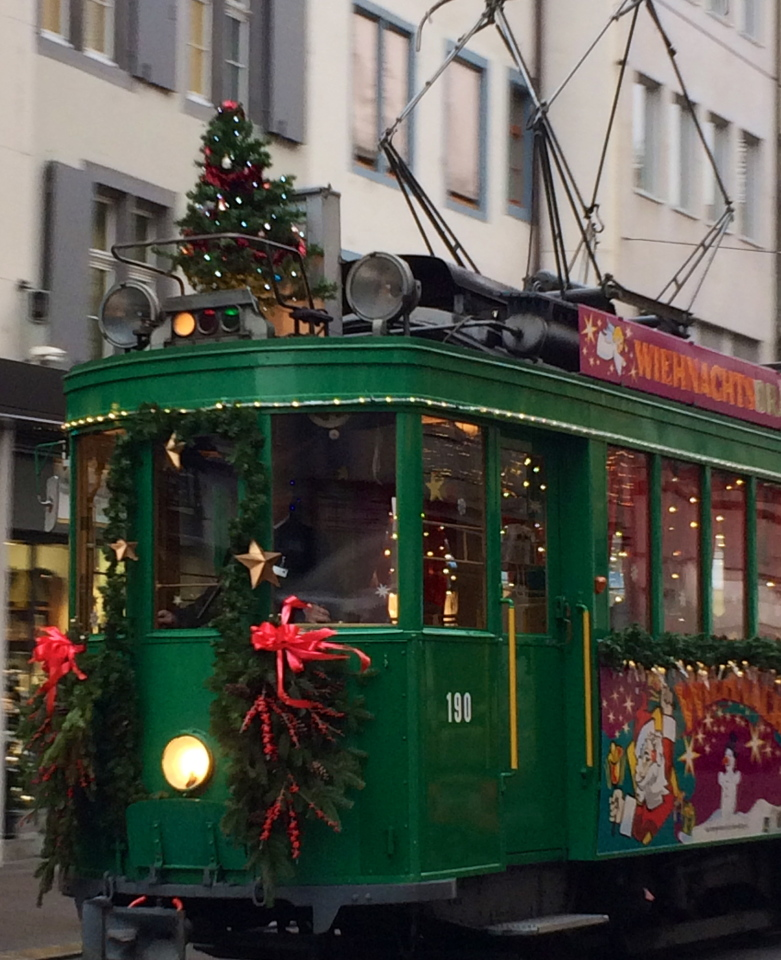 Basel, Switzerland tram near the Christmas Markets