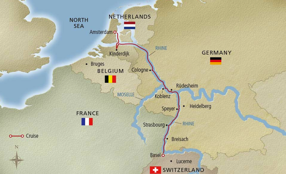 Viking River Cruise Map down the Rhine River