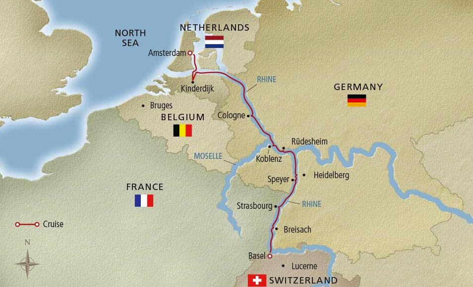 Viking River Cruise Map down the Rhine River