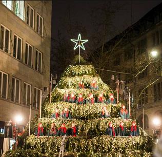 Live Singing Christmas Tree in Zurich, Switzerland
