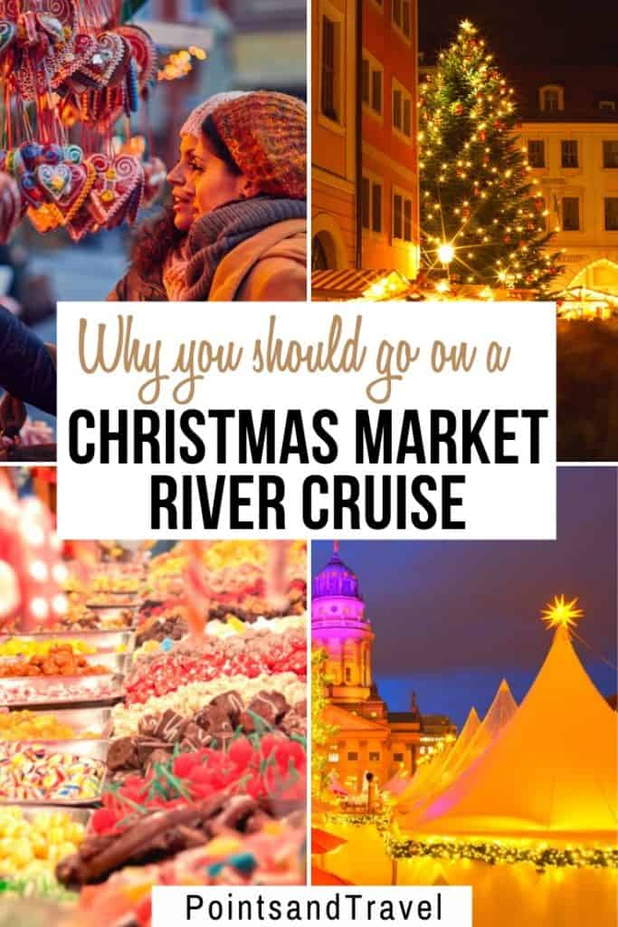 Why you Should Go on a Christmas Market River Cruise For the Holidays. An 8-day journey down the Rhine River from just outside of Zurich, Switzerland, thru Germany and France and then on to Amsterdam, the Netherlands. Sail and stop at the Christmas Markets, sipping hot chocolate and sampling delicious holiday treats. #christmasmarket #holidays #christmas | Christmas Market River Cruise | How to see the best Christmas Markets in Europe | Holiday Travel in Europe | Winter Destinations |