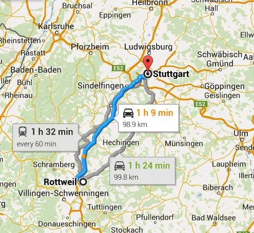 Germany Map - Stuttgart to Rottweil