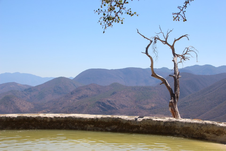 A visit to Hierve el Agua, Oaxaca, Mexico with mountainous views