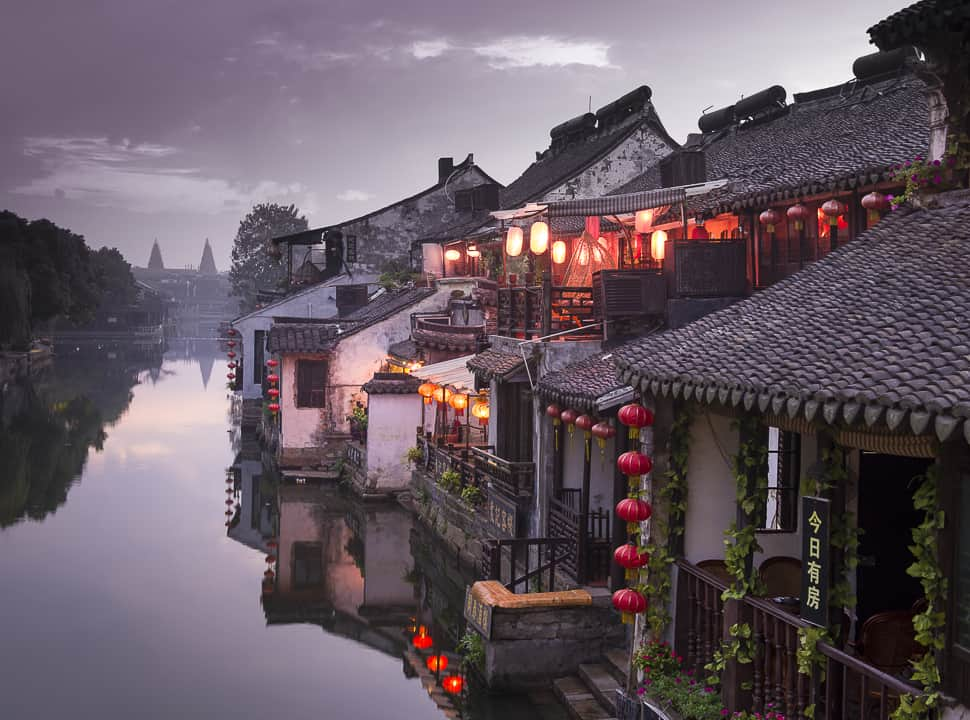 Refections of China's Water Town, canal housing