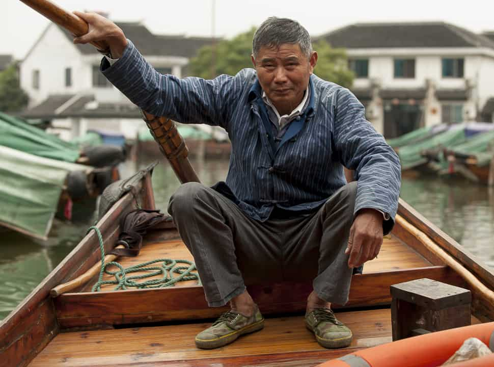 chinese man, Water Towns of China, Venice of the East, Xitang, China