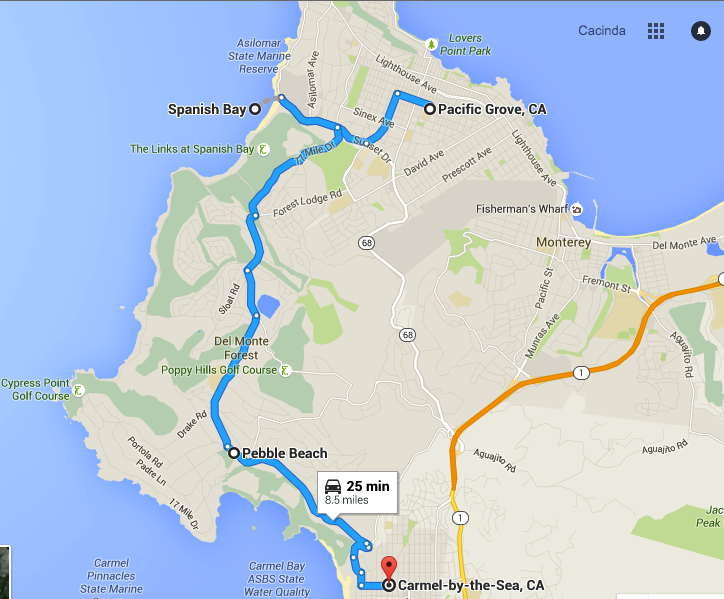 Map from Pacific Grove to Carmel-by-the-Sea, Things to do in Monterey CA