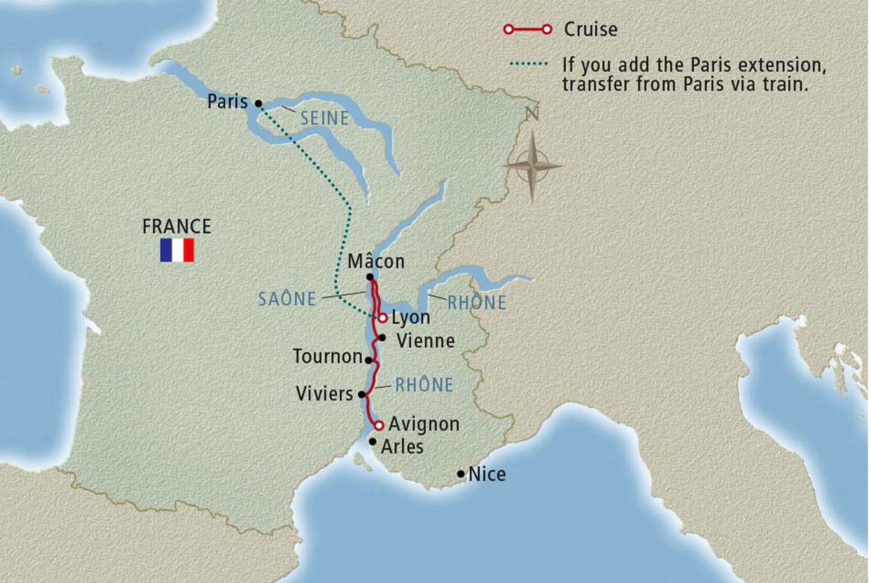 Map of Southern France, Southern France, Viking Tours
