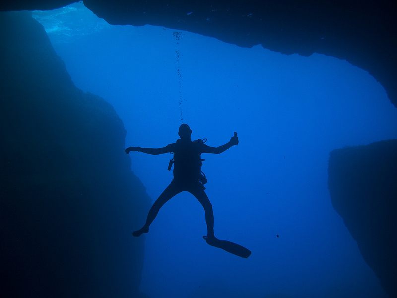 a Cruise is Good for Your Health, Scuba Diver, Blue