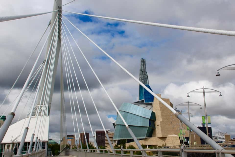 Beluga Whale and Polar Bear Safari: Churchill Manitoba, Esplanade Riel Pedestrian Bridge, Winnipeg, Canada, Human Rights Museum, Frank Gehry Architect