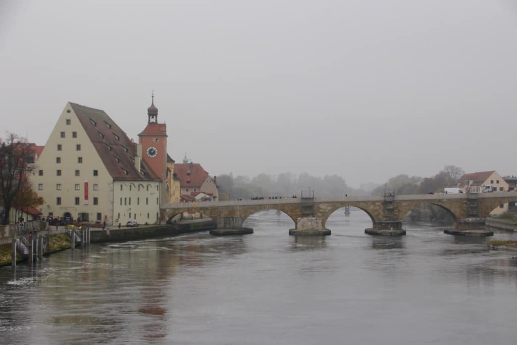 one of the beautiful bridges in Regensburg old town Germany