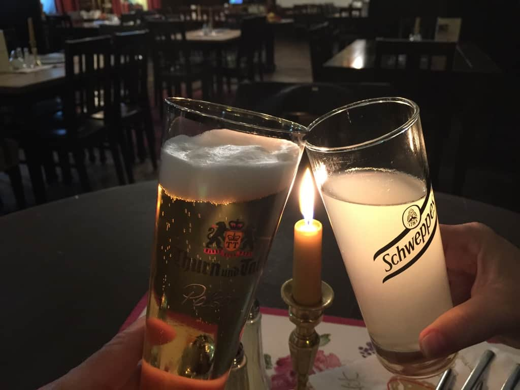 trying local beer in Regensburg Germany