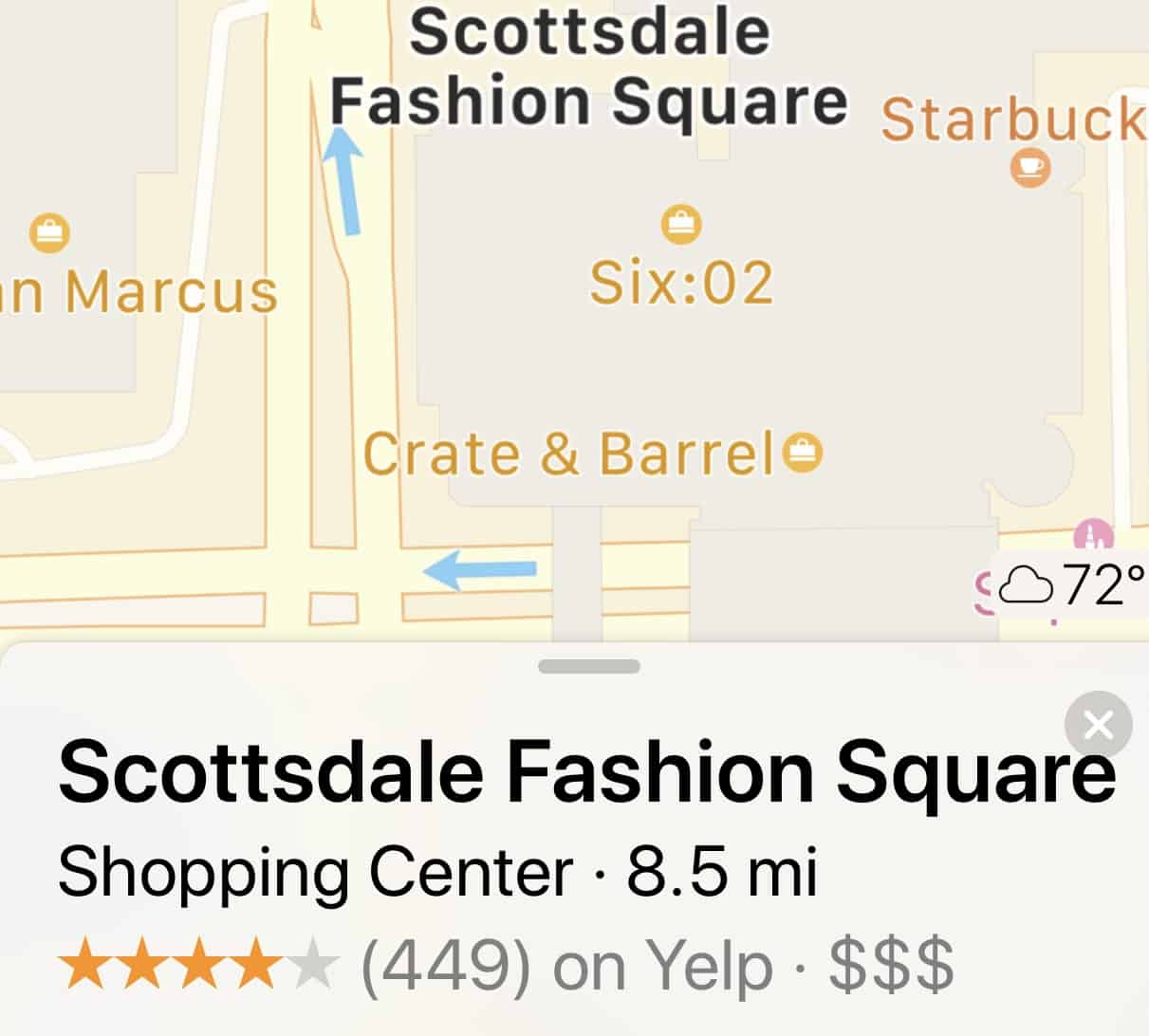 Holiday Road Trip Tips: Take a Trip, Travel Locally, GPS map to Scottsdale Fashion Square