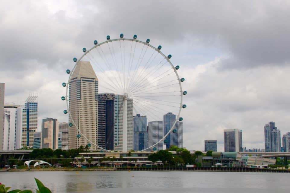 Singapore Skyline from cruise Holland America on a global cruise.
