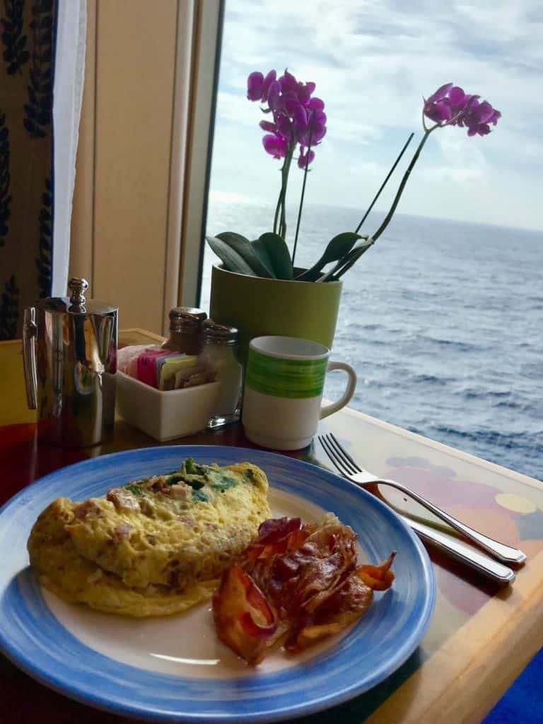 Food on board cruise Holland America on a global cruise.