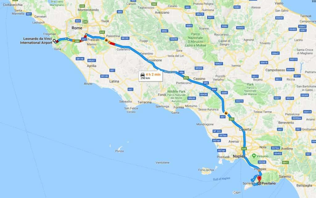 From Rome to Positano, the Amalfi Coast, Italy, from Rome to Positano by car