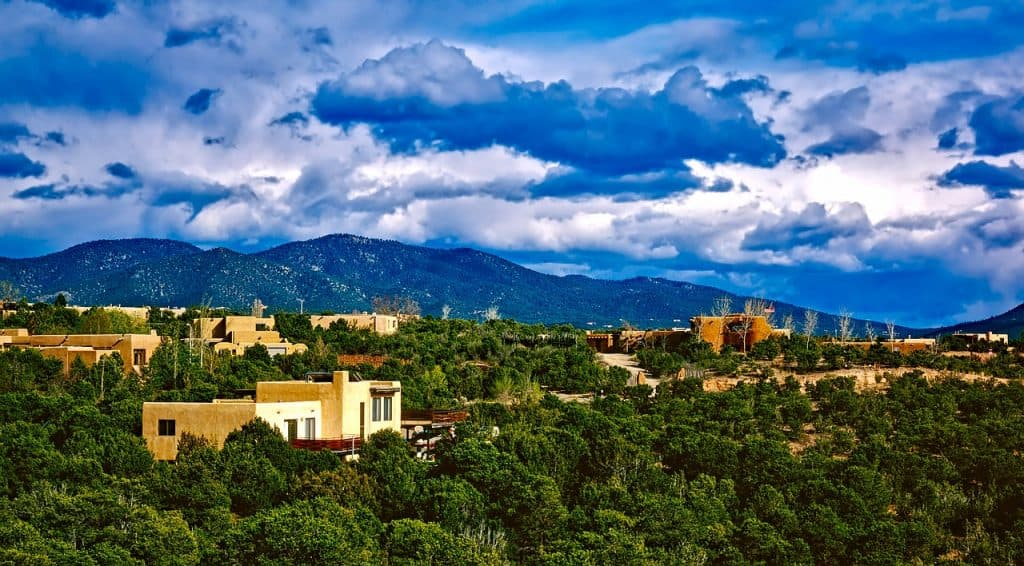 Santa Fe landscape, Santa Fe weather, Santa Fe New Mexico elevation, Population of Santa Fe NM, Santa Fe hotels near plaza