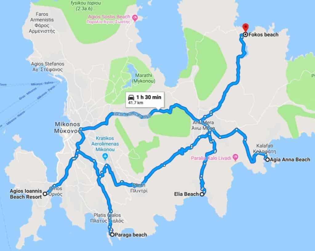Mykonos Beaches Map