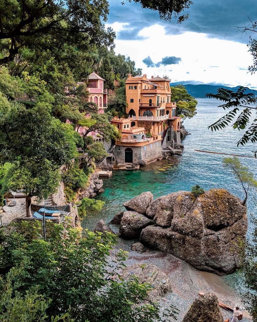 scenic view of restaurant overlooking water