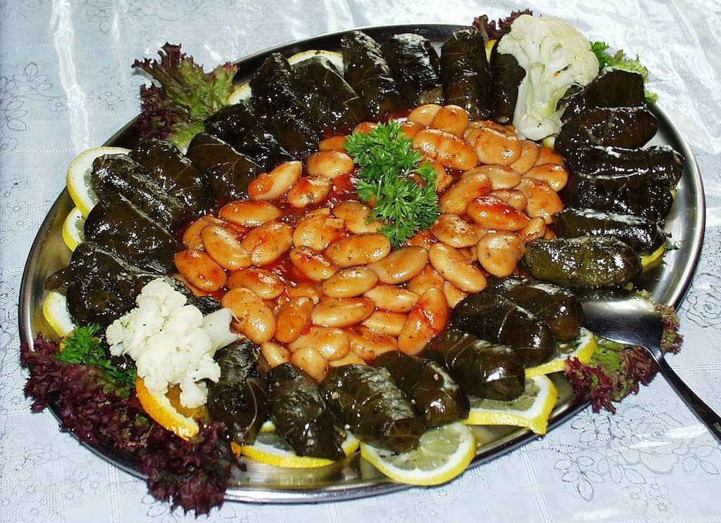 beans with grape leaves, Greek traditional food, Greeks foods, Greek food dishes, #Greek