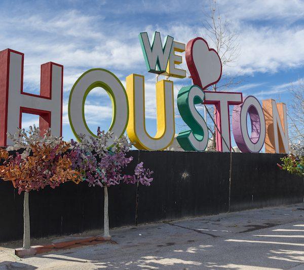 Houston Sign that says we Love Houston