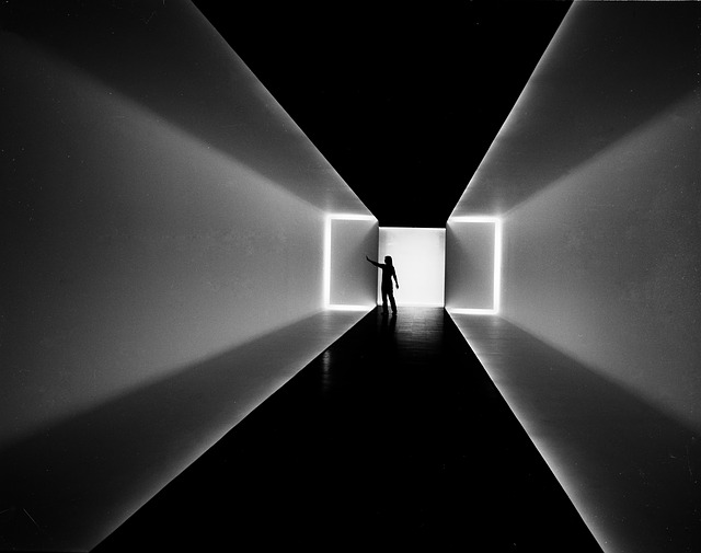 Black and White of person inside the Museum of Fine art