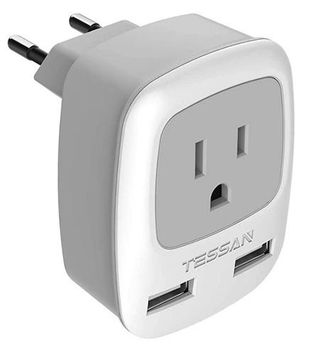 2 pin European plug with USBs