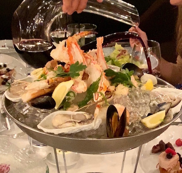 Seafood Platter with wine