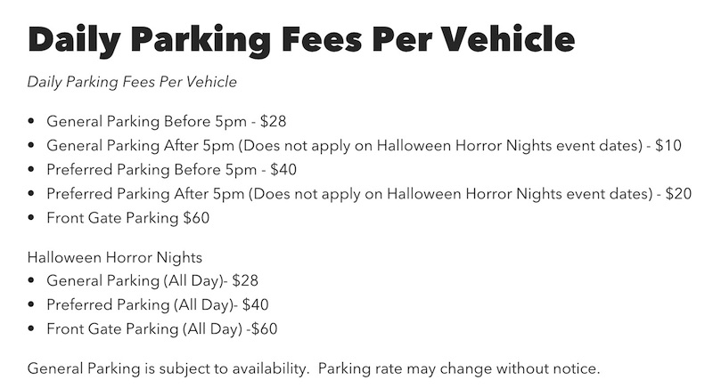 Daily Parking Fee per vehicle, Universal Studios Hollywood