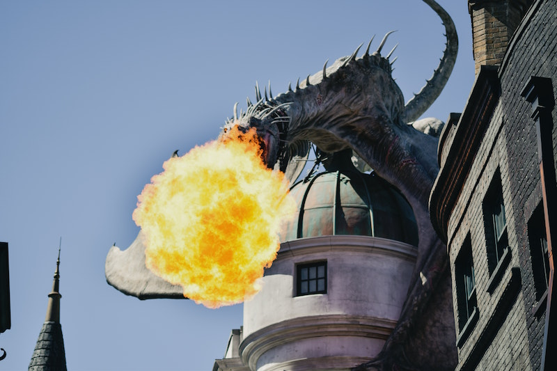 Fire breathing dragon, Where to park at Universal Studios Hollywood
