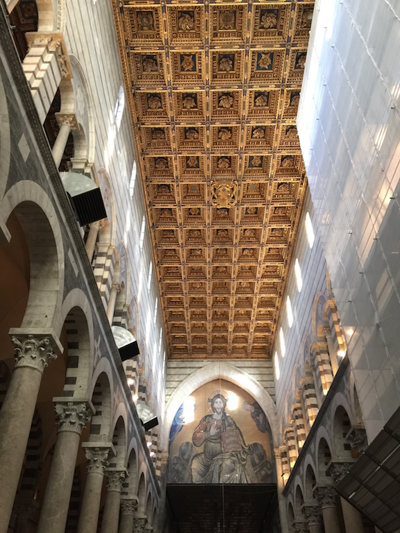 Inside the church of the learning tower of Pisa