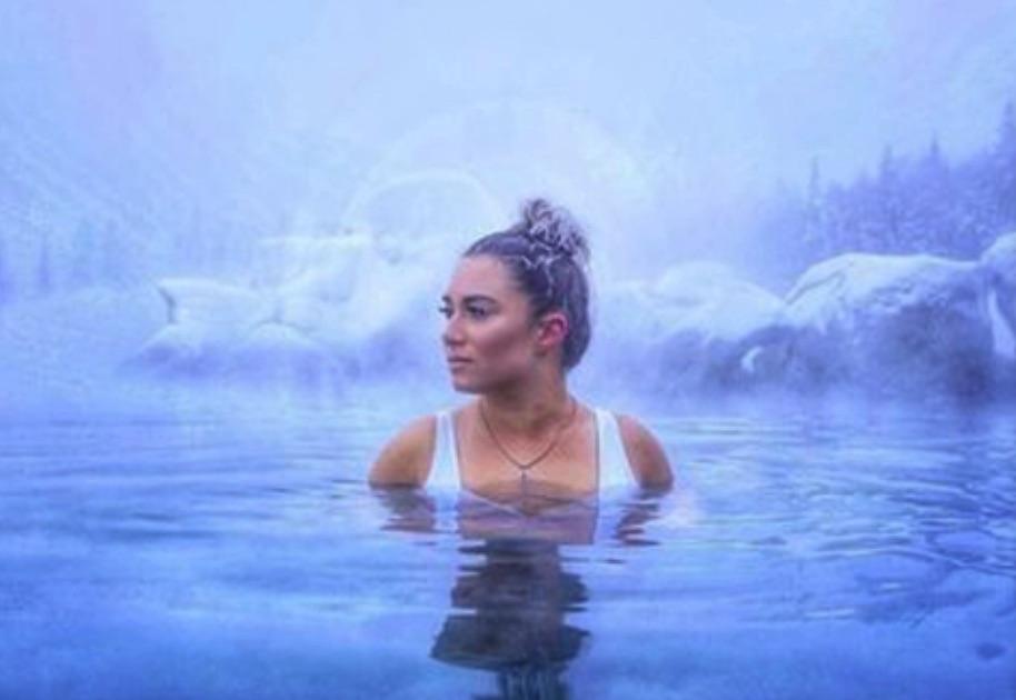 girl in waters, Chena Hot springs Resort