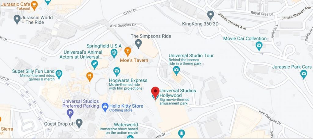 Map of Universal Studios Hollywood
